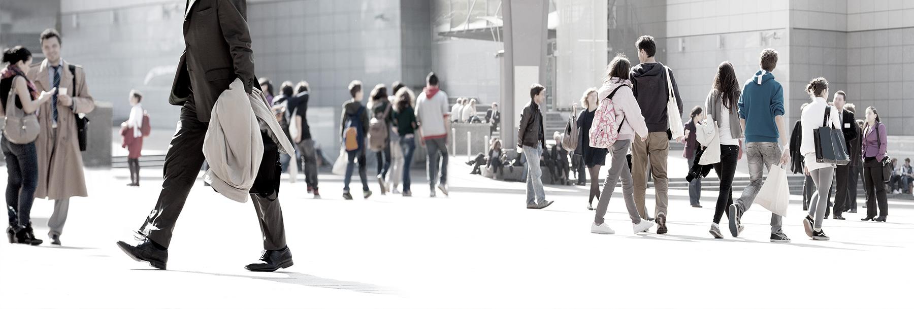 people walking background