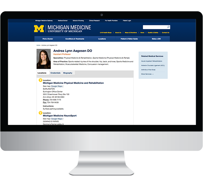Michigan Medicine web doctor profile